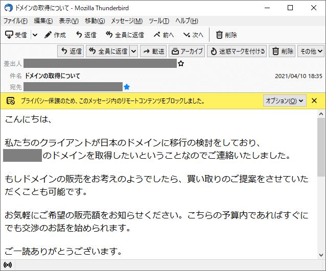 「ドメインの取得について」メールのスクリーンショット